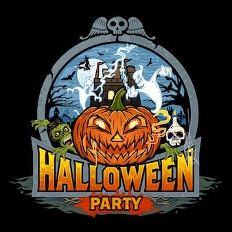 Uitnodiging voor halloween-feest met kasteel dracula