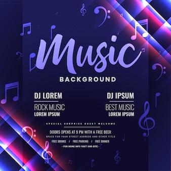 Uitnodiging voor het feest van muziek dj of poster, glanzend sjabloonontwerp