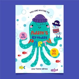 Uitnodiging voor kinderfeest en octopus met hoed