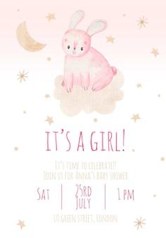 Uitnodiging voor kinderfeestje het is een schattige aquarel kinderillustratie van een meisje met een konijn