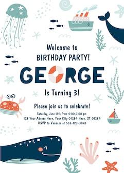 Uitnodiging voor verjaardagsfeestje oceaan