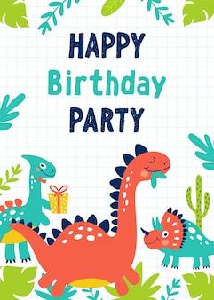 Uitnodiging voor verjaardagsfeestje van dinosaurus.