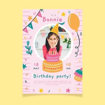 Uitnodiging voor verjaardagsfeestje voor kinderen met foto
