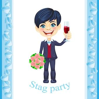 Uitnodiging voor vrijgezellenfeest met elegante bruidegom met een glas wijn in de ene hand en een boeket r...