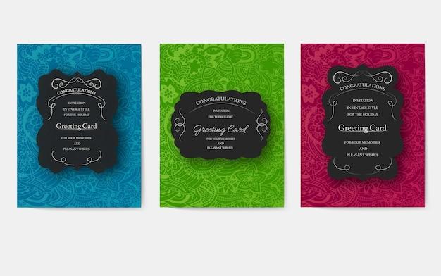Uitnodigingen in een moderne stijl voor zaken. flyers met een nieuw strikt ontwerp voor feesten, bruiloften.