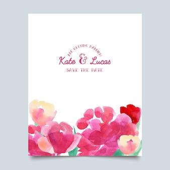 Uitnodigingen met aquarel bloemen.
