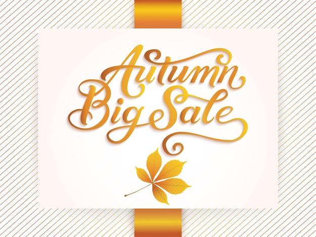 Uitnodigings- en aankondigingskaart met bloemenframe met herfstbladeren en autumn big sale-tekst.