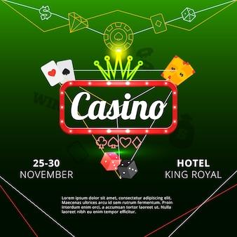 Uitnodigingsaffiche aan het koninklijke casino van de hotelkoning