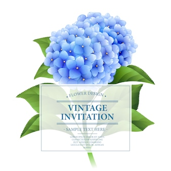 Uitnodigingskaart. blauwe hortensia bloemen.