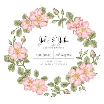 Uitnodigingskaart hand getrokken illustratie hondsroos rosa canina bloem decoratief