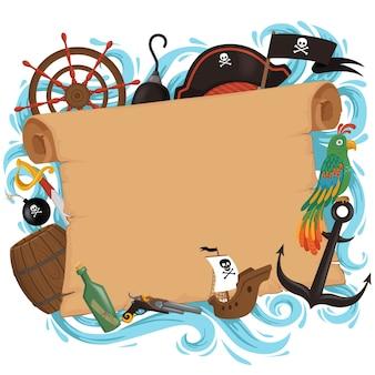 Uitnodigingskaart in piratenstijl voor een feest in een cartoonstijl. themavakantie voor kinderen.