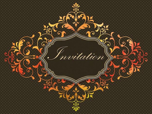 Uitnodigingskaart met aquarel damast element op de donkere achtergrond.
