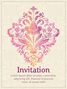 Uitnodigingskaart met aquarel damast element op de lichte damast achtergrond