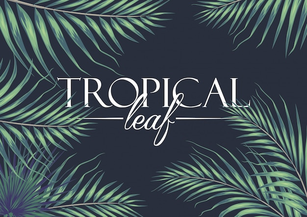 Uitnodigingskaart met exotische tropische bladeren achtergrond