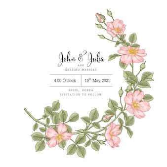 Uitnodigingskaart met hondsroos rosa canina bloem