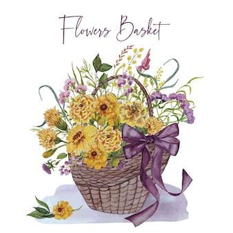 Uitnodigingskaart met mand met bloemen