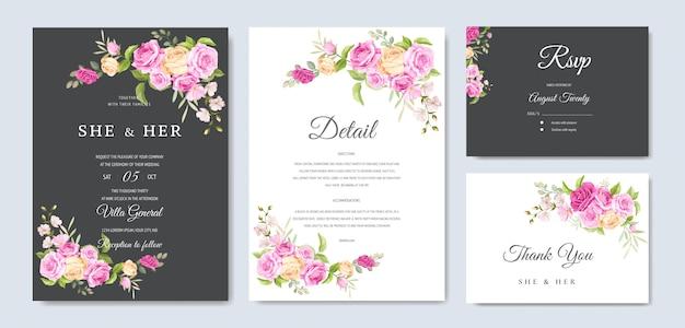 Uitnodigingskaart met mooie gele en roze rozen sjabloon