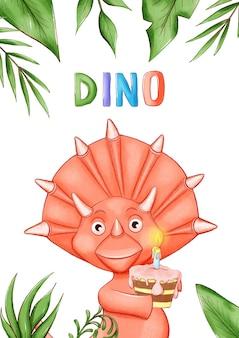 Uitnodigingskaart of poster op het dino-feest.