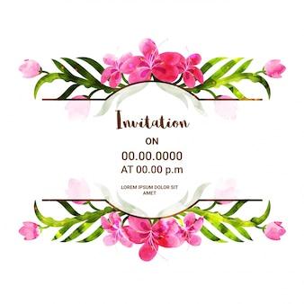 Uitnodigingskaart sjabloon met roze bloemen.