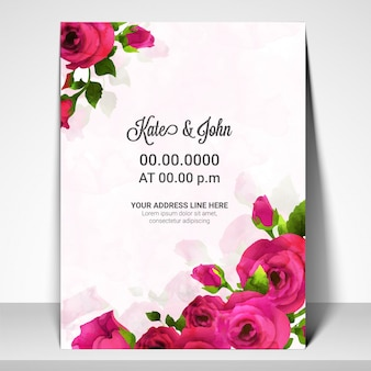 Uitnodigingskaart voor bruiloften met roze rozenbloemen. Premium Vector