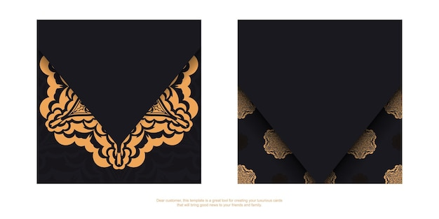 Uitnodigingskaart voorbereiden met plaats voor uw tekst en vintage patronen. vierkant vectorsjabloon voor ansichtkaarten met printontwerp in zwarte kleur met luxe patronen.