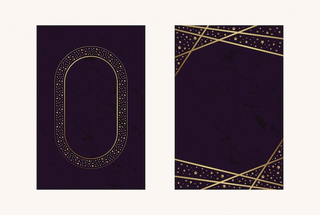 Uitnodigingskaarten magenta luxe blad confitti goud