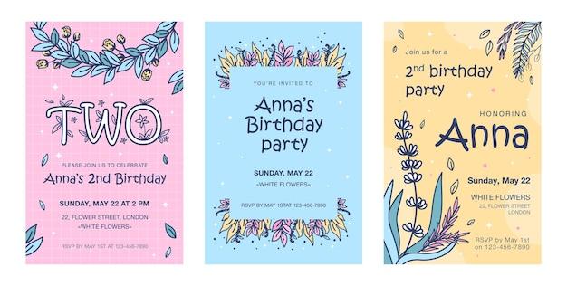 Uitnodigingskaarten met bloemen set