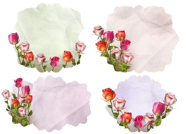 Uitnodigingskaarten met gedetailleerde bloemen. bestand opgenomen