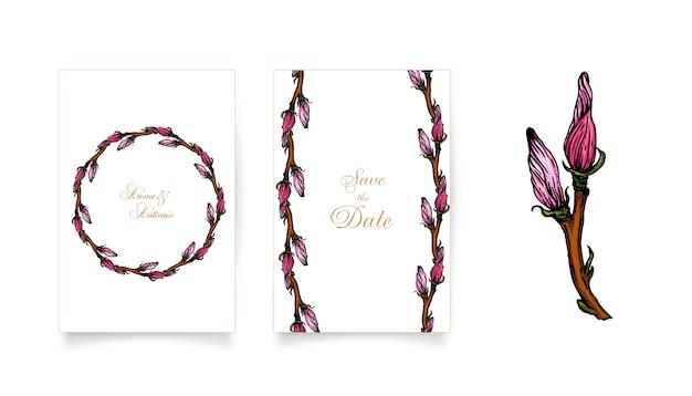 Uitnodigingskaarten met roze magnolia bloemen