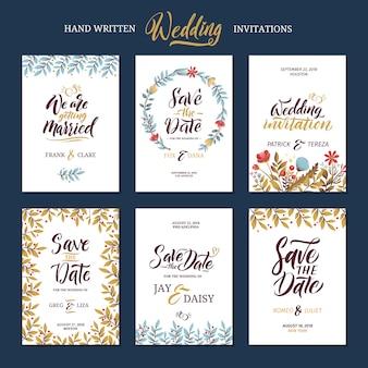 Uitnodigingskaarten voor huwelijk met kalligrafiewoorden.