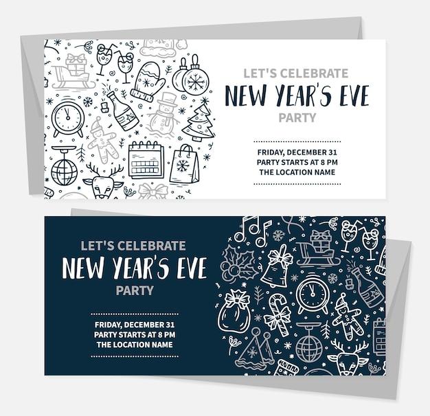 Uitnodigingskaarten voor kerst en oud en nieuw voor een feest met vectorpictogrammen