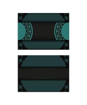 Uitnodigingskaartsjabloon met plaats voor uw tekst en abstract ornament. luxueus vectorbriefkaartontwerp in zwarte kleur met blauwe griekse ornamenten.