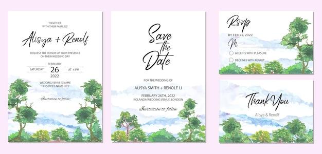 Uitnodigingskaartsjabloon met prachtig landschap van boomwaterverfachtergrond