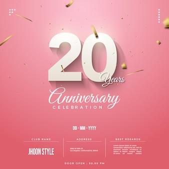 Uitnodigingsnummers voor 20-jarig jubileum versierd met gouden linten