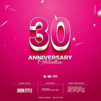 Uitnodigingsnummers voor 30-jarig jubileum die zich voordoen