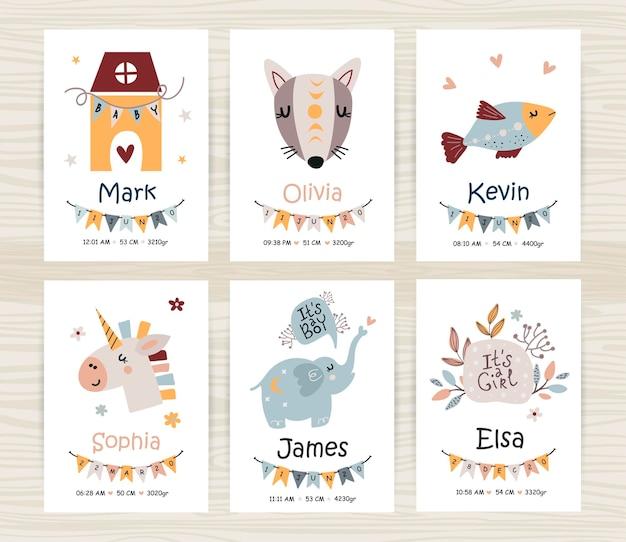 Uitnodigingssjablonen voor baby shower met schattige dieren voor meisje en jongen. perfect voor kinderkamer, kinderkamer decoratie, posters en wanddecoraties