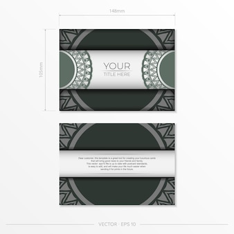 Uitnodigingssjabloon met ruimte voor uw tekst en vintage patronen. luxe vectorontwerp voor ansichtkaart in witte kleur met donkere griekse patronen.
