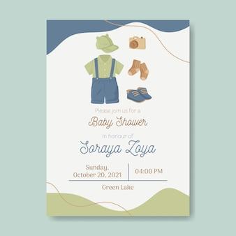 Uitnodigingssjabloon voor babyshower genderneutraal in aardetinten