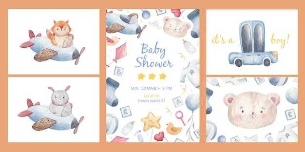 Uitnodigingssjabloon voor een kinderfeestje, babyshower, kinderset van dingen voor een baby, auto's, sokken, ballen, ballen, kleding, fopspeen, fles, slabbetje in aquarel