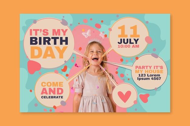 Uitnodigingssjabloon voor kinderverjaardagskaarten met foto