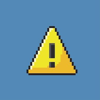Uitroepteken met driehoekige vorm in pixelart styl