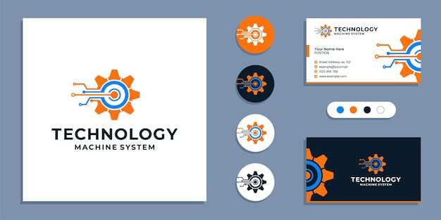 Uitrusting, technologie machine systeem logo en visitekaartje ontwerpsjabloon