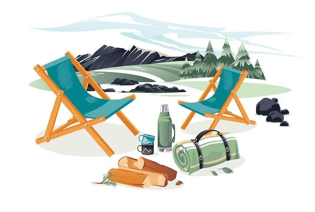 Uitrusting voor kamperen en klimmen in een landschap. stoelen, vloerkleed, schop, bijl, kopjes, thermoskan. tekenfilm
