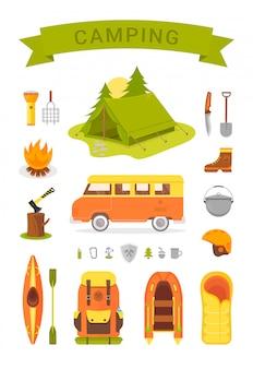 Uitrusting voor kamperen en wandelen