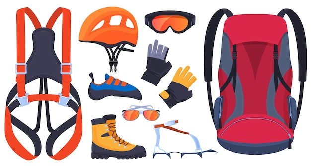 Uitrusting voor klimmen, klimmers. verzekering, karabijnen, ijsbijl. helm, laarzen, klauwen, handschoenen. extreme sporten.
