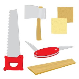 Uitrustingsstuk handwerk zaagplank schuurpapier bijl pennemes cartoon