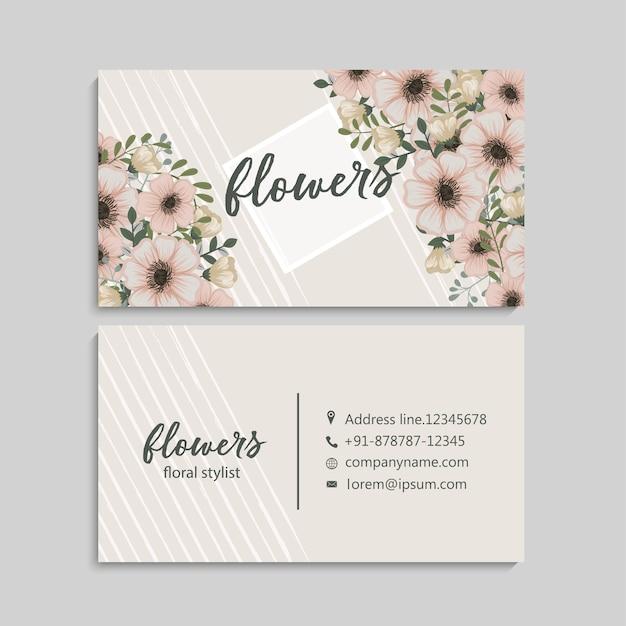 Uitstekend adreskaartje met blauwe bloemen en bessen