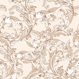 Uitstekend barok naadloos patroon met wervelingen