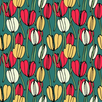 Uitstekend bloemen naadloos patroon met tulpen