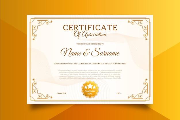 Uitstekend certificaatsjabloon